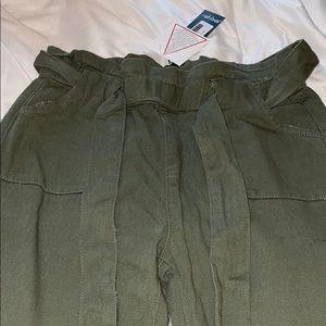 Nasty Gal Pants & Jumpsuits - Green Khaki Paperbag Tie Pants